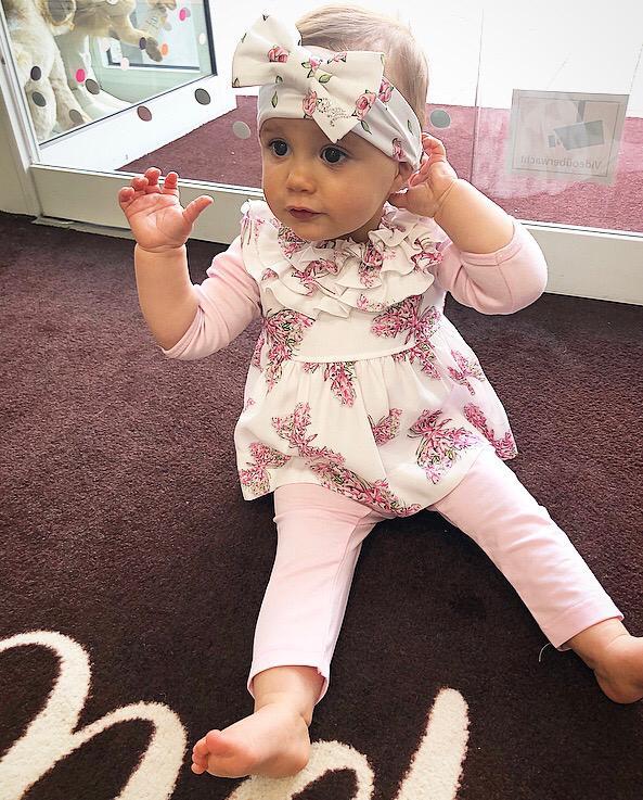 Babymode Mädchen Ludwigsburg Sommerkleid mit rosa Blumen